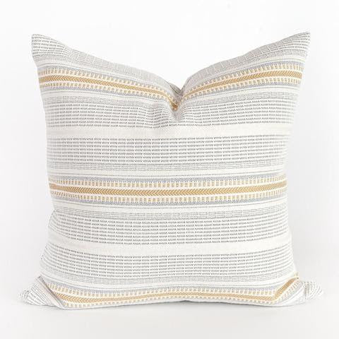 Eirah Pillow is a classic striped pillow with a slash of sunshine. The colors are a muted canary yellow and neutral grey on a creamy white background. This sturdy high performance fabric has a robust weave, making it an ideal indoor/outdoor pillow that can stand up to the elements both outdoors and indoors.