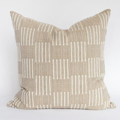 "The Jude Pillow is featured in a deep sandy beige pillow with cream dashes has a simple but dimensional pattern, and is exactly what your space needs to add a touch of earthy goodness. The versatile texture is rich, natural, and cozy, which allows it to swing seamlessly between rustic and elegant. Jude Pillow measures 22""x22""."
