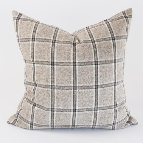Zadok Pillow with it's plaid in a range of gray, cream and charcoal. Its natural spun fibers add to a brushed linen feel that will work perfectly in your space whether your style leans rustic or refined.