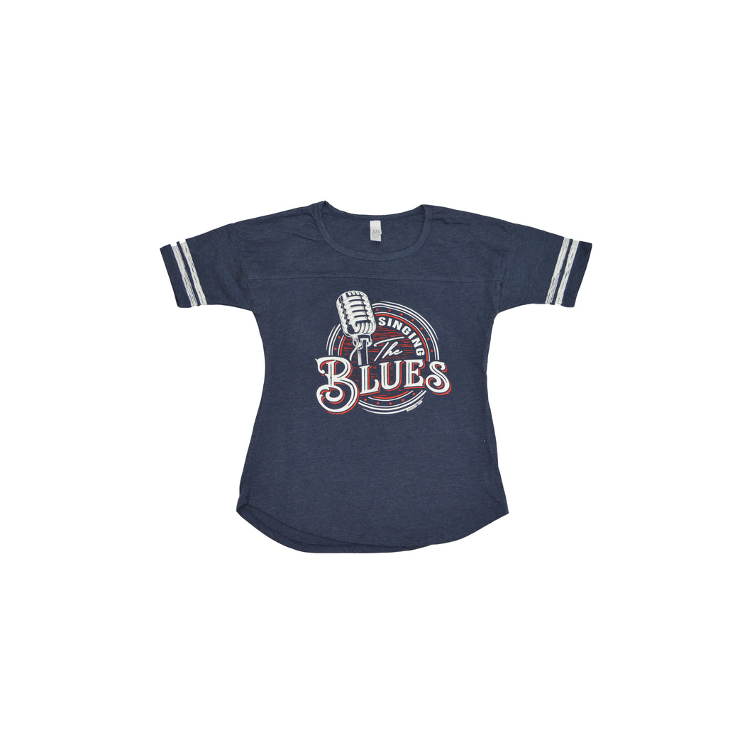 Womens Singing The Blues Navy Jersey T Shirt
