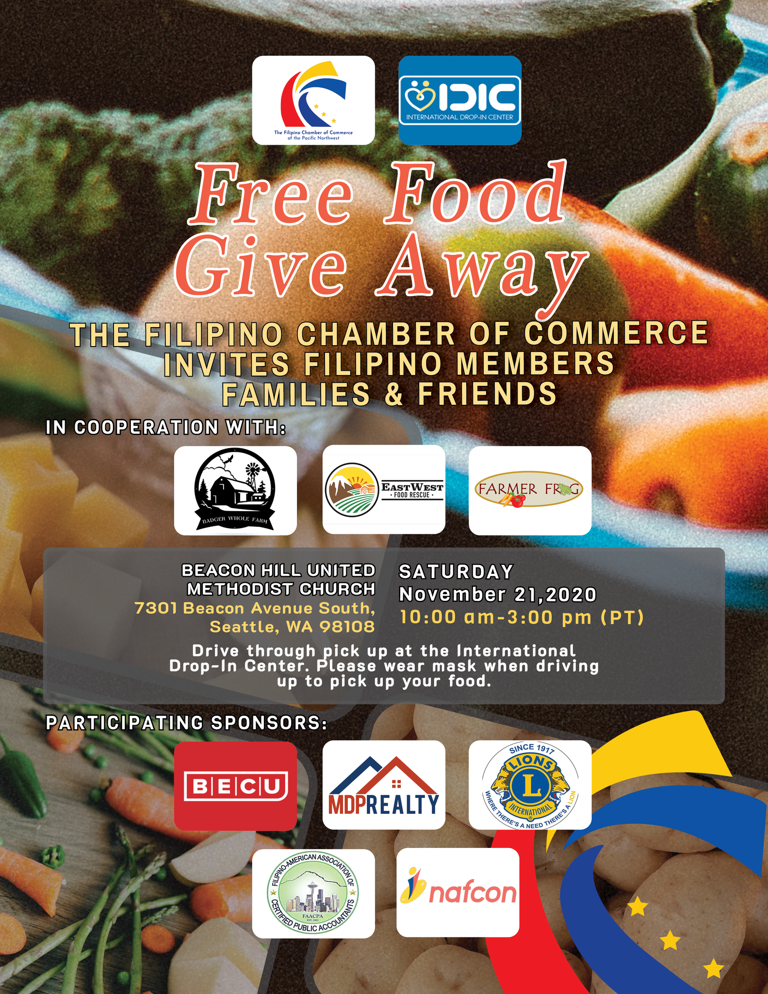 The Filipino Chamber of Commerce of the PNW - Free Food Give Away - for Filipino community members, families, and friends in Seattle, WA