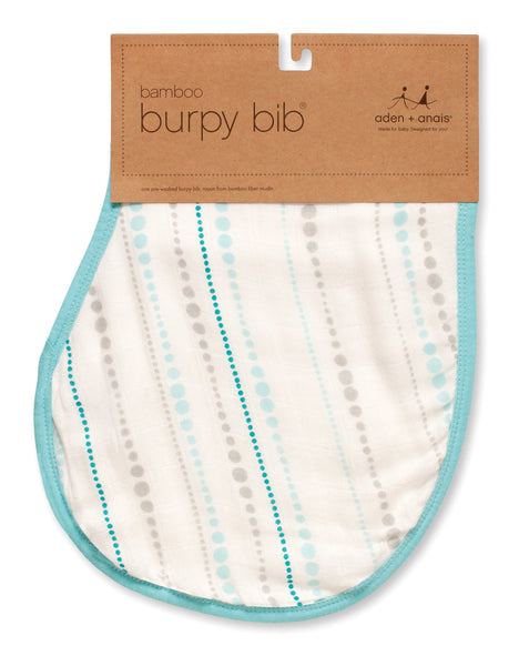 Aden + Anais Bamboo Burpy Bib - Azure Beads in packaging
