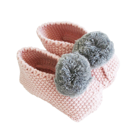 Alimrose Baby Pom Pom Slippers - Rosewater and Grey