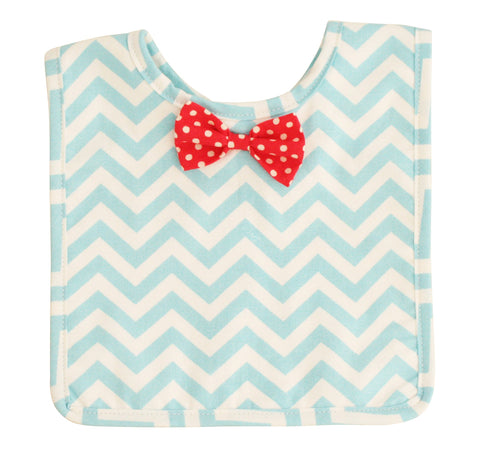 Alimrose Bow Tie Chevron Bib - Light Blue