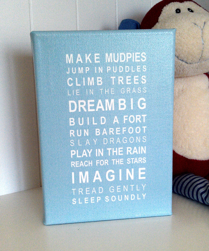 Dreams for your Boy Bus Roll Printed Canvas by Almond Tree Designs
