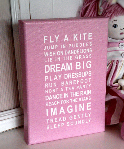 Dreams for your Girl Bus Roll Printed Canvas by Almond Tree Designs