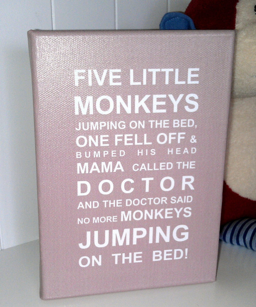 Five Little Monkeys Bus Roll Printed Canvas by Almond Tree Designs