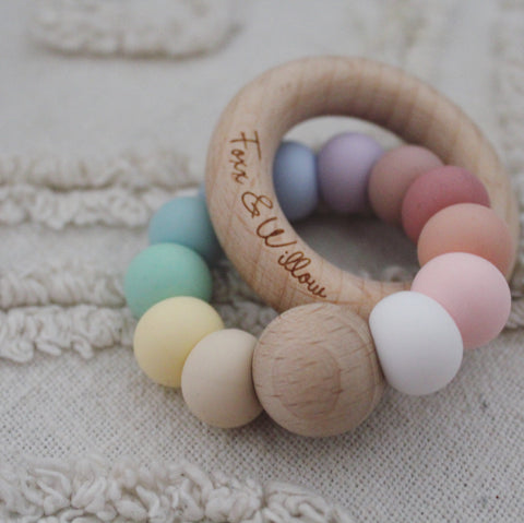 Foxx & Willow Infinity Ring Teether - Pastel Rainbow