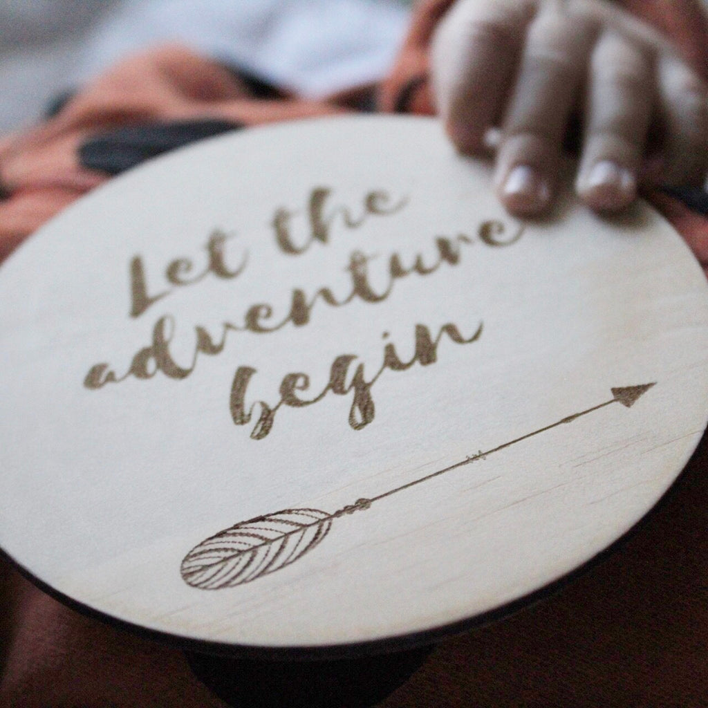 Foxx & Willow Single Wood Moment Disc - Let the Adventure Begin