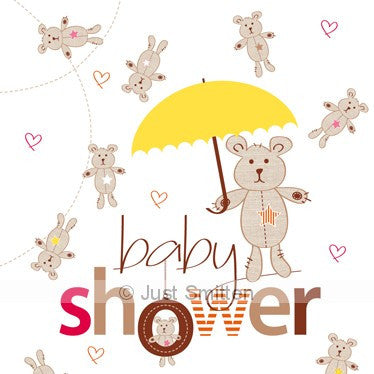 Baby Shower Raining Bears mini gift card by Just Smitten