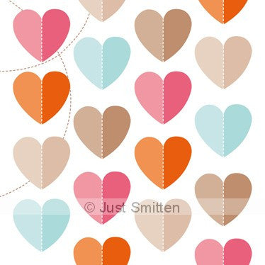 Falling Paper Hearts mini gift card by Just Smitten