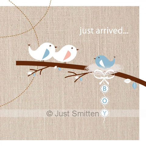 Just Arrived on Linen - Boy mini gift card by Just Smitten