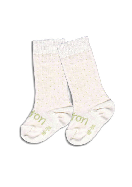 Lamington Newborn Naturals Merino Knee-High Socks - Vanilla Bean flat