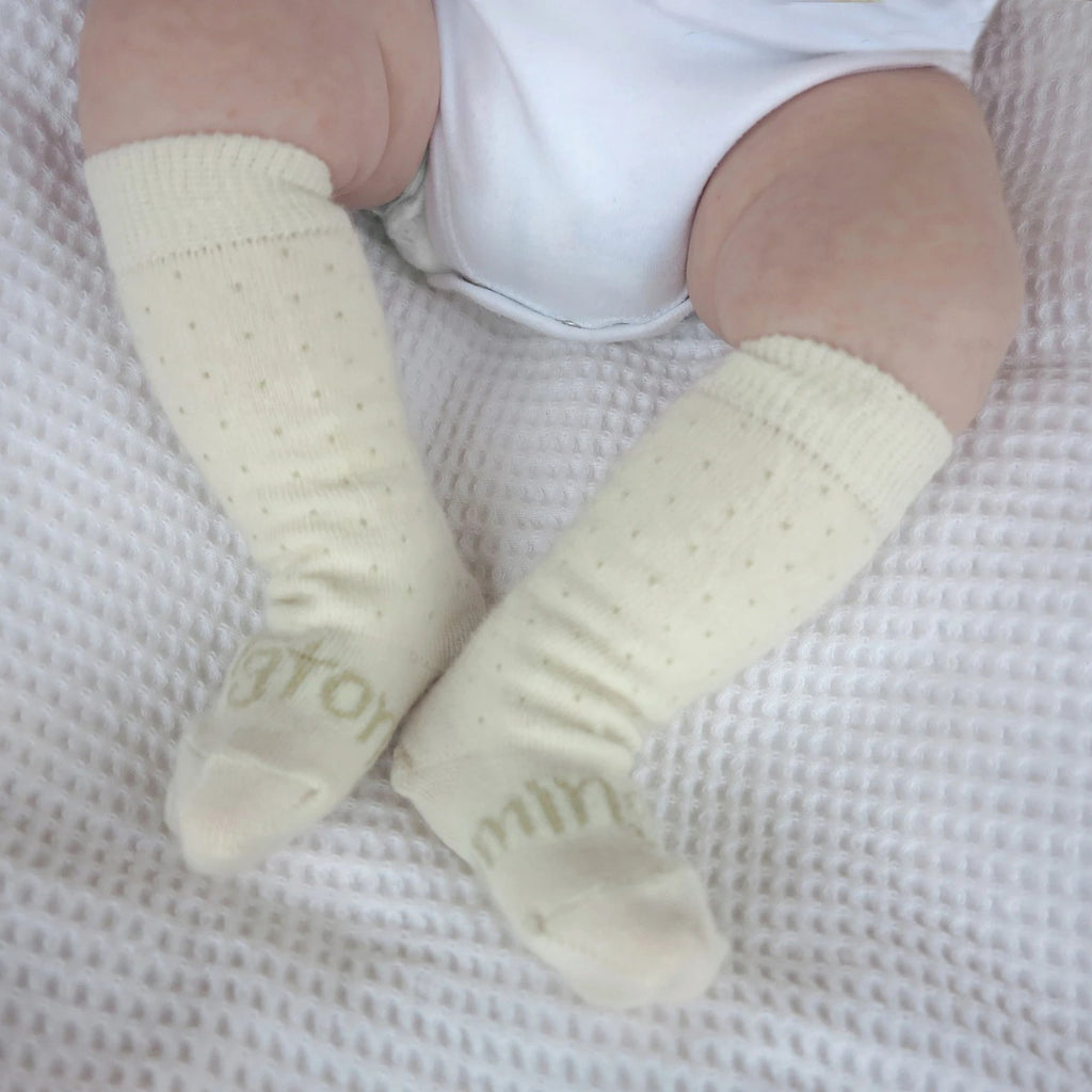Lamington Newborn Naturals Merino Knee-High Socks - Vanilla Bean lifestyle
