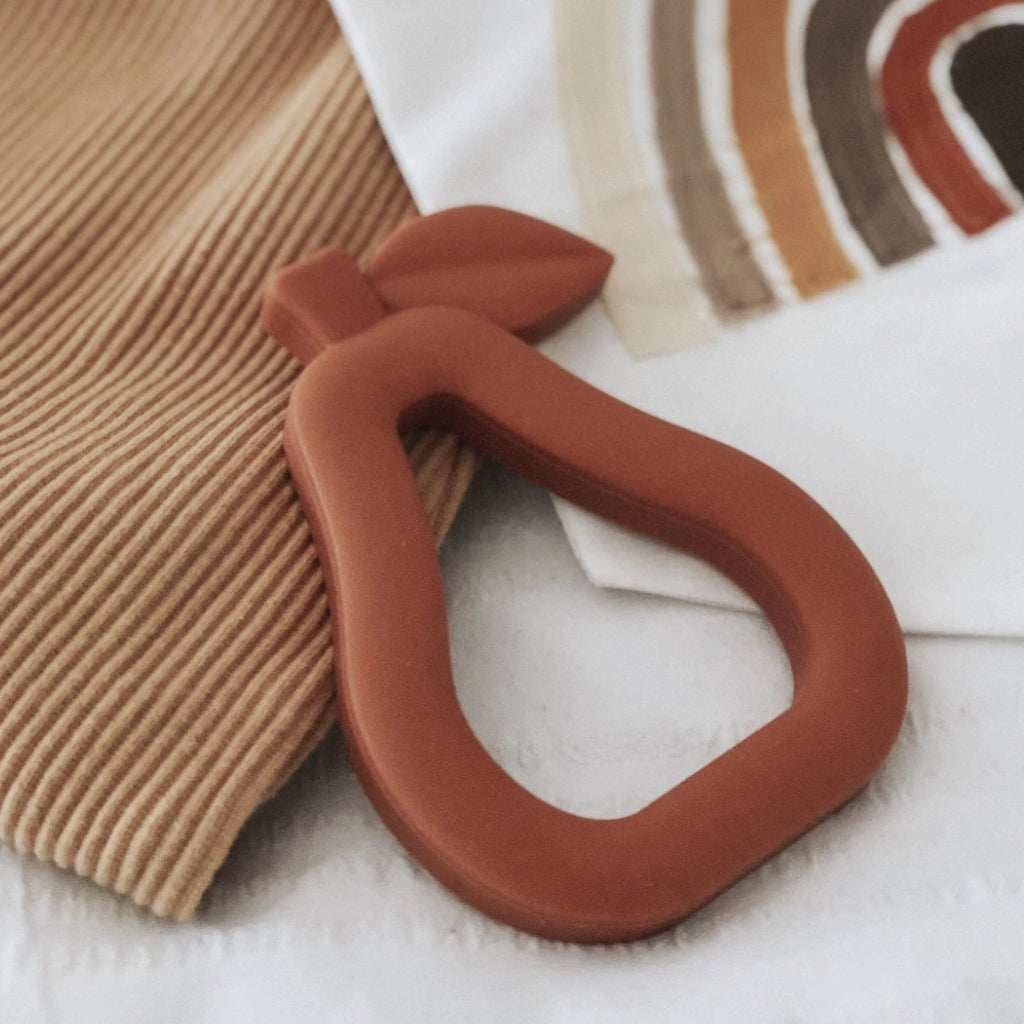My Little Giggles Pear Teether Terracotta
