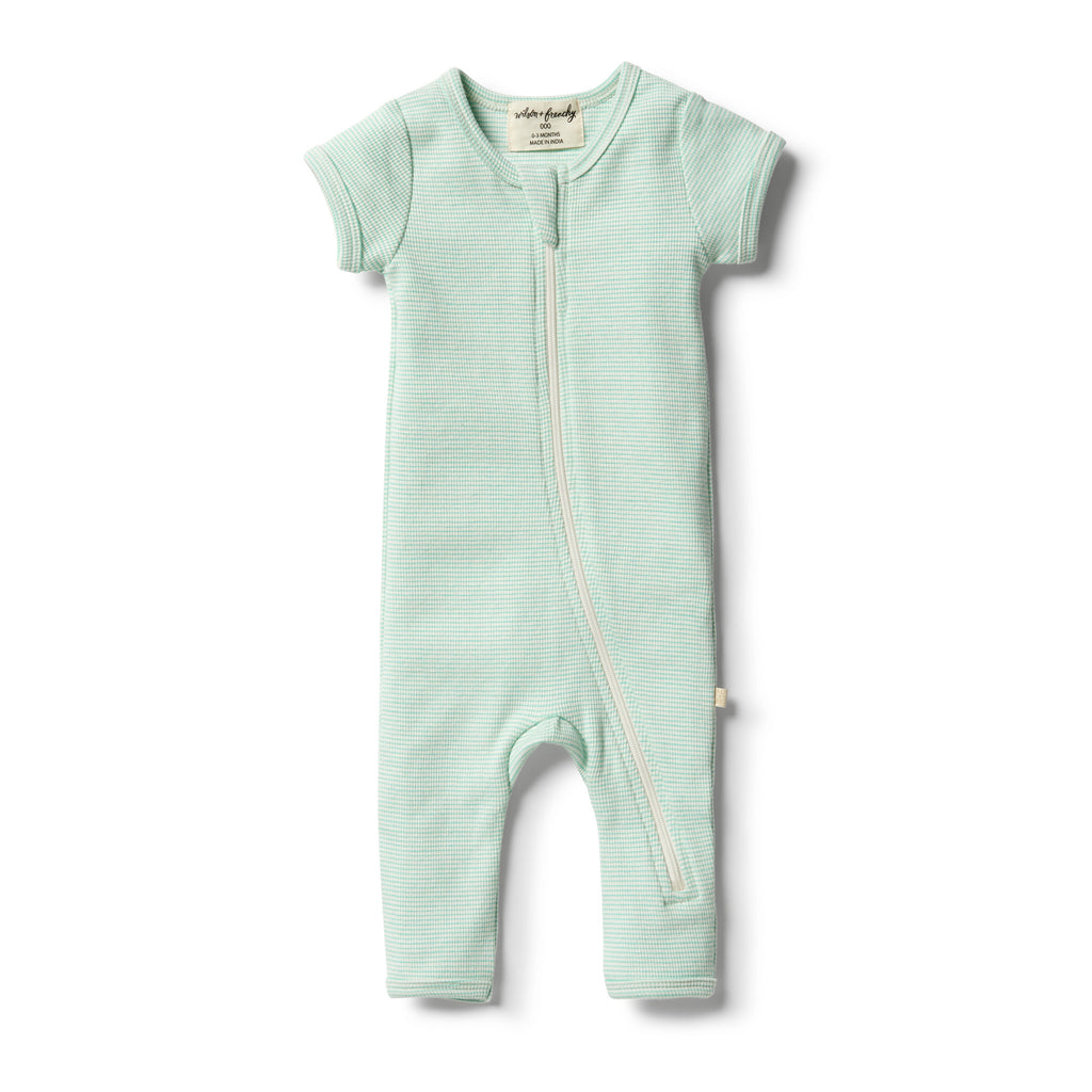 Wilson & Frenchy Neon Mint Organic Stripe Rib Zipsuit front