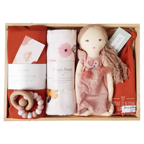 Room to Bloom Abeline Baby Gift - Wooden Box Hamper