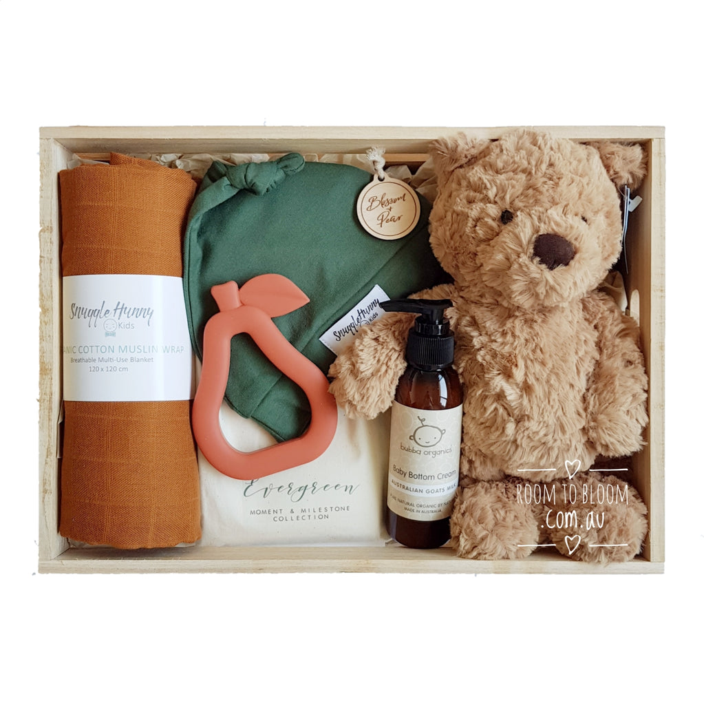 Room to Bloom Always Autumn Baby Gift - Wooden Box Hamper