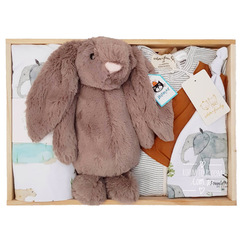 Room to Bloom Animalia Baby Gift - Wooden Box Hamper