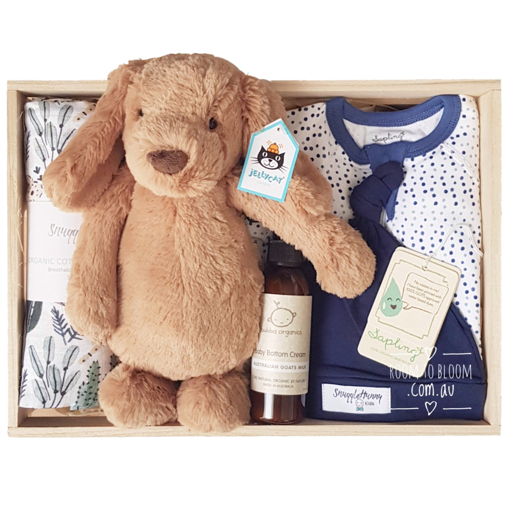 Room to Bloom Barkley Baby Gift - Wooden Box Hamper
