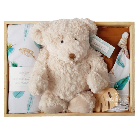 Room to Bloom Bear Necessities Baby Gift - Wooden Box Hamper