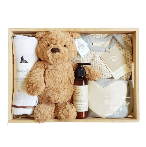 Room to Bloom Beary Cute Baby Gift - Wooden Box Hamper