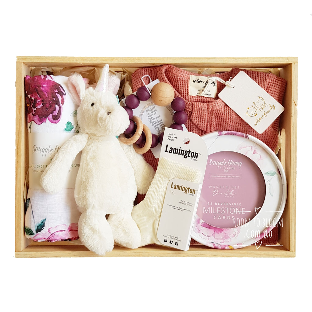 Room to Bloom Berry Beautiful Baby Gift - Wooden Box Hamper
