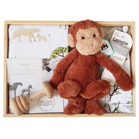 Room to Bloom Bingo Baby Gift - Wooden Box Hamper