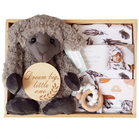 Room to Bloom Black Sheep Baby Gift - Wooden Box Hamper