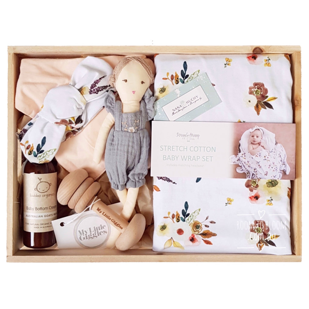 Room to Bloom Blush Baby Gift - Wooden Box Hamper