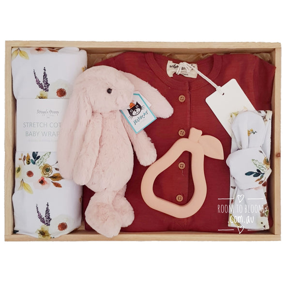 Room to Bloom Boho Posy Baby Gift - Wooden Box Hamper