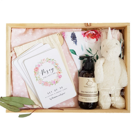 Room to Bloom Bouquet de Fleurs Baby Gift - Wooden Box Hamper
