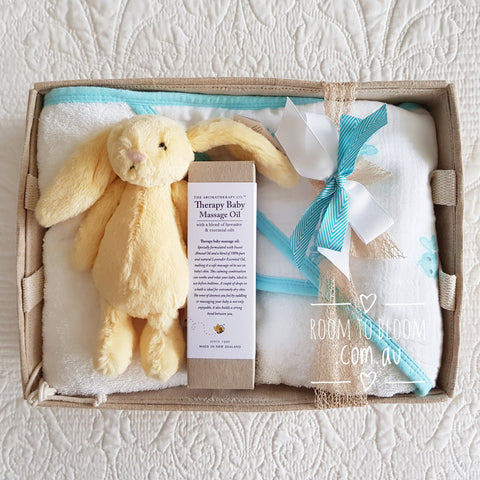 Room to Bloom Bunny Bath Time Baby Gift Hamper