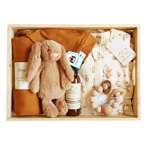 Caramello Cottontail Baby Gift - Wooden Box Hamper