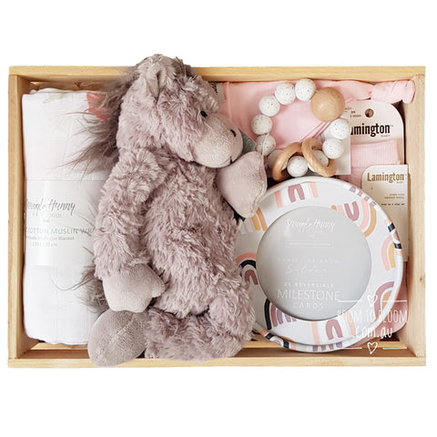 Room to Bloom Carnival Baby Gift - Wooden Box Hamper
