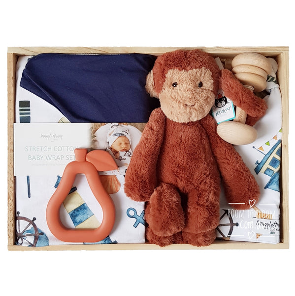 Cheeky Chimp Baby Gift - Wooden Box Hamper