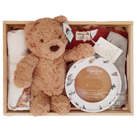 Room to Bloom Cookie Baby Gift - Wooden Box Hamper
