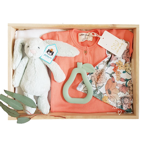 Room to Bloom Coral Cluster Baby Gift Box Hamper
