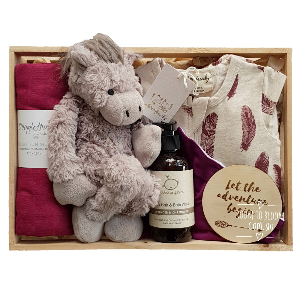 Room to Bloom Cupid Baby Gift - Wooden Box Hamper