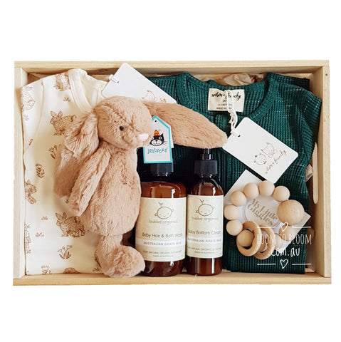 Room to Bloom Double Trouble Baby Gift - Wooden Box Hamper