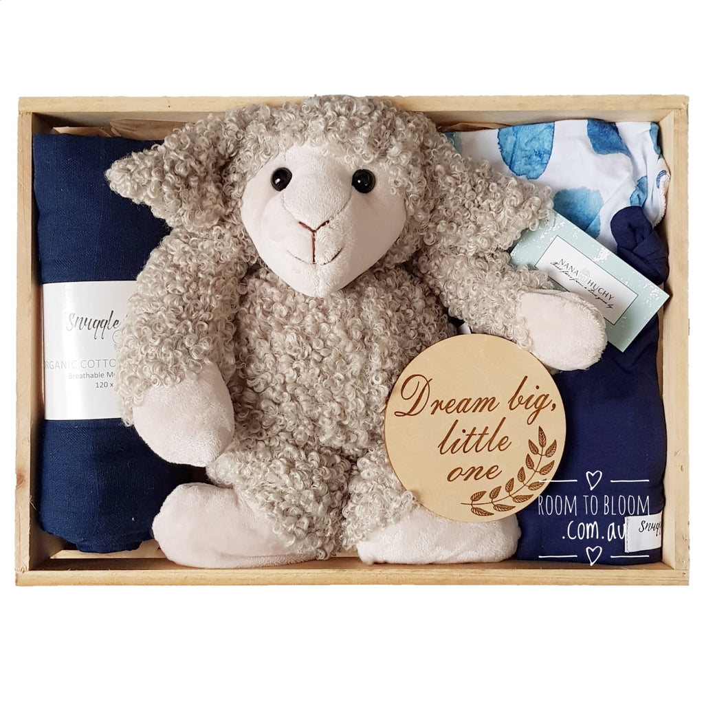 Room to Bloom Dream Big Baby Gift - Wooden Box Hamper