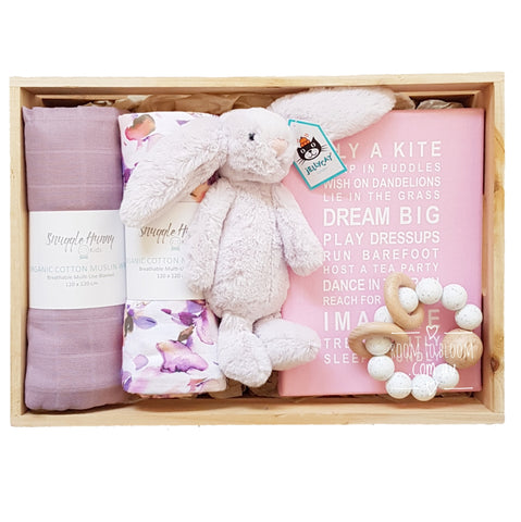 Room to Bloom Dreams Baby Gift - Wooden Box Hamper