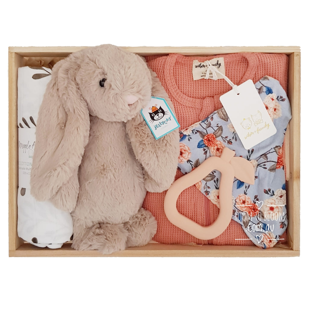 Room to Bloom English Rose Baby Gift - Wooden Box Hamper