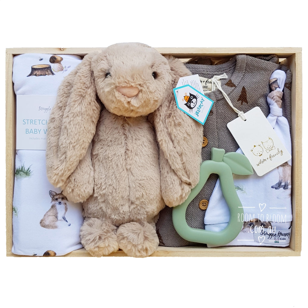 Room to Bloom Fantastic Fox Baby Gift - Wooden Box Hamper