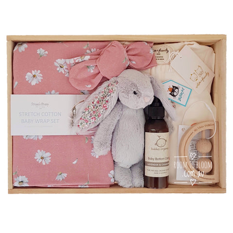 Room to Bloom Favourite Things Baby Gift - Wooden Box Hamper
