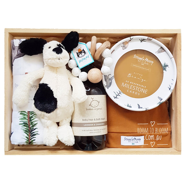 Room to Bloom Fido Baby Gift - Wooden Box Hamper