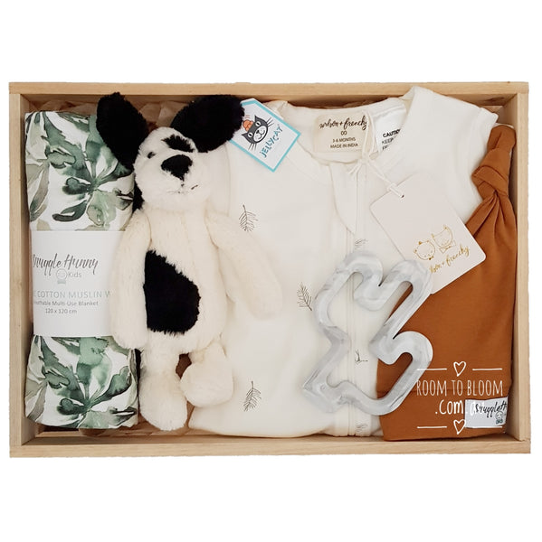 Room to Bloom Forager Baby Gift - Wooden Box Hamper