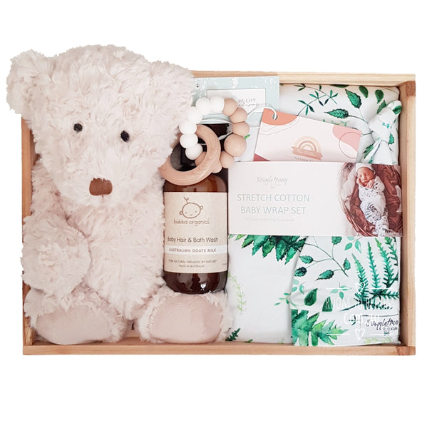 Room to Bloom Forest Friend Baby Gift - Wooden Box Hamper