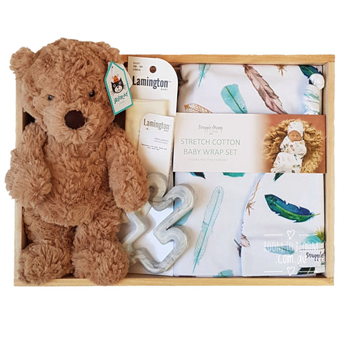 Room to Bloom Fred Ted Baby Gift - Wooden Box Hamper