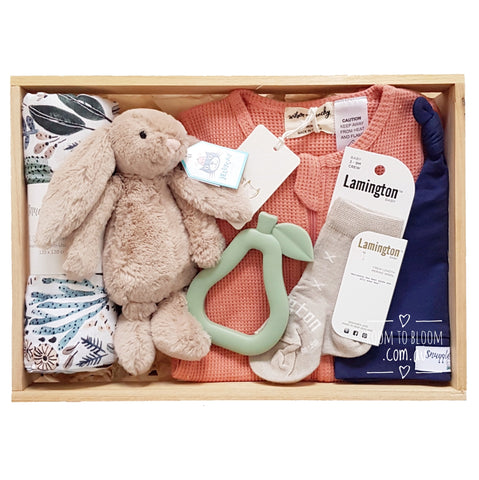 Room to Bloom Free Spirit Baby Gift - Wooden Box Hamper